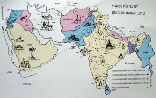 Map Of The Travels Of Respected Nanak