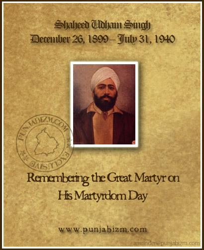 Shaheed Udham Singh - 31 July 1940